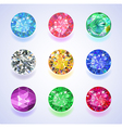 Round shape top view colored gems vector image