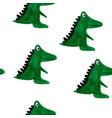 seamless pattern with cartoon crocodiles vector image