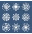 set 9 hand drawn symmetric white snowflakes vector image
