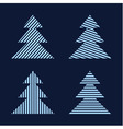 set of graphic stylized hristmas trees vector image