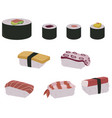 set sushi rolls and hand sushi vector image vector image