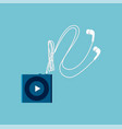 small mp3 player sketch with white headphones vector image