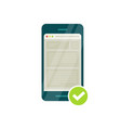 smartphone with mobile phone browser and green vector image vector image