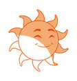 smiling funny cartoon sun with vector image vector image