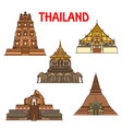 thai temples and stupas icons travel landmark vector image vector image