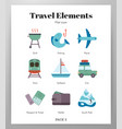 travel elements flat pack vector image vector image