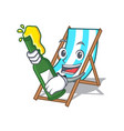 with beer beach chair mascot cartoon vector image