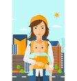 Woman holding baby in sling vector image