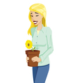 Woman with Flower Pot vector image vector image