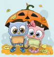 halloween card two cute cartoon owls vector image