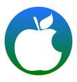 bite apple sign white icon in bluish vector image