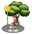 A street with a boy biking vector image vector image
