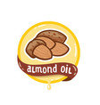 almond oil logo natural product emblem vector image vector image