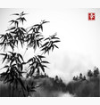 bamboo trees and forest in fog hand drawn with ink vector image vector image