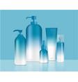 blue bottles set background xd vector image