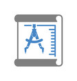 blueprint icon on white background for graphic and vector image