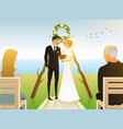 bride and groom wedding ceremony on the beach by vector image vector image