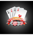 casino with poker symbols and poker c vector image vector image
