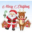 cheerful watercolor santa in a winter wonderland vector image