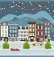 christmas and happy new year city scape vector image