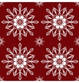 Christmas snowflakes on red background seamless vector image vector image