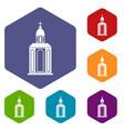 church icons set hexagon vector image vector image