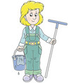 cleaner with a swab and a bucket vector image