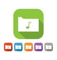 Color set of flat folder with music note vector image