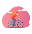 delivery service man riding a bicycle vector image
