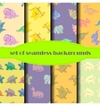 Dinosaurs Seamless backgrounds Set vector image