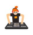 dj in headphones mixing music on vinyl turntables vector image vector image