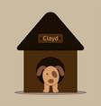 dog in dog house in flat design vector image vector image