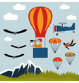 extreme selfie air balloon flat design vector image