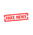 fake news rubber stamp on a cell phone vector image vector image