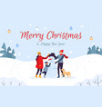 family making snowman holiday card merry vector image vector image