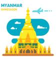 Flat design Shwedagon pagoda vector image vector image