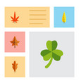 flat icon foliage set of maple linden alder and vector image vector image