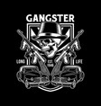 gangster skull with machine guns vector image