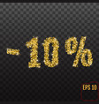 gold sale 10 percent golden sale 10 percent on vector image