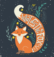 hand drawn vintage label with a fox and hand vector image vector image