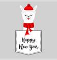 happy new year llama alpaca face head vector image vector image
