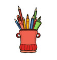 holder with pencils ruler and pens container vector image vector image