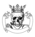 human skull full face in crown vector image