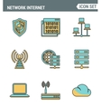 Icons line set premium quality of cloud computing vector image vector image