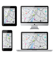 Isolated gadgets with street map vector image vector image