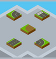 isometric road set of driveway strip turning and vector image vector image