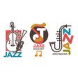 jazz logo set with saxophone and double bass vector image