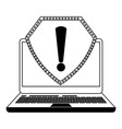 laptop open with attention sign black and white vector image