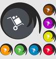 loader Icon sign Symbols on eight colored buttons vector image vector image