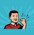 man shows fist showing strength retro comic pop vector image
